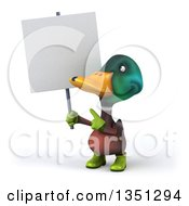 Clipart Of A 3d Gardener Mallard Drake Duck Holding And Pointing To A Blank Sign Royalty Free Illustration
