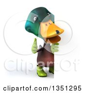 Clipart Of A 3d Gardener Mallard Drake Duck Giving A Thumb Up By A Sign Royalty Free Illustration by Julos