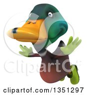 Clipart Of A 3d Gardener Mallard Drake Duck Flying Royalty Free Illustration