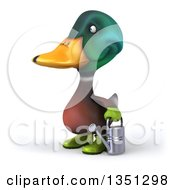 Clipart Of A 3d Gardener Mallard Drake Duck Holding A Watering Can Facing Left Royalty Free Illustration by Julos