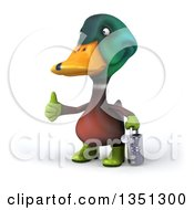 Clipart Of A 3d Gardener Mallard Drake Duck Holding A Watering Can Giving A Thumb Up And Facing Left Royalty Free Illustration by Julos