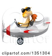 Clipart Of A 3d Yellow Dragon Aviator Pilot Wearing Sunglasses And Flying A White And Red Airplane To The Left Royalty Free Illustration by Julos