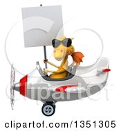 Clipart Of A 3d Yellow Dragon Aviator Pilot Wearing Sunglasses Holding A Blank Sign And Flying A White And Red Airplane To The Left Royalty Free Illustration by Julos