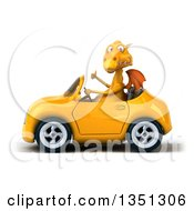 Clipart Of A 3d Yellow Dragon Giving A Thumb Up And Driving A Convertible Car To The Left Royalty Free Illustration by Julos