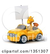 Clipart Of A 3d Yellow Dragon Holding A Blank Sign And Driving A Convertible Car To The Left Royalty Free Illustration by Julos