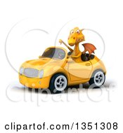 Clipart Of A 3d Yellow Dragon Giving A Thumb Down And Driving A Convertible Car To The Left Royalty Free Illustration by Julos