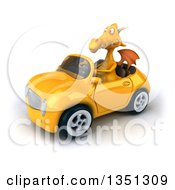 Clipart Of A 3d Yellow Dragon Driving A Convertible Car To The Left Royalty Free Illustration by Julos