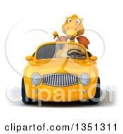 Clipart Of A 3d Yellow Dragon Giving A Thumb Down And Driving A Convertible Car Royalty Free Illustration by Julos