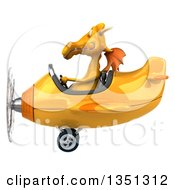 Clipart Of A 3d Yellow Dragon Aviator Pilot Flying An Airplane To The Left Royalty Free Illustration by Julos