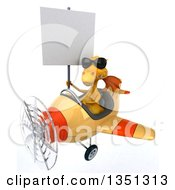 Clipart Of A 3d Yellow Dragon Aviator Pilot Wearing Sunglasses Holding A Blank Sign And Flying An Airplane To The Left Royalty Free Illustration by Julos