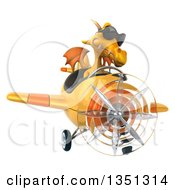Clipart Of A 3d Yellow Dragon Aviator Pilot Wearing Sunglasses And Flying An Airplane Royalty Free Illustration by Julos