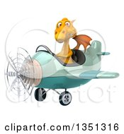 Clipart Of A 3d Yellow Dragon Aviator Pilot Flying A Green Airplane To The Left Royalty Free Illustration by Julos