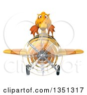 Clipart Of A 3d Yellow Dragon Aviator Pilot Flying An Airplane Royalty Free Illustration by Julos