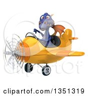 Clipart Of A 3d Purple Dragon Aviator Pilot Giving A Thumb Down And Flying A Yellow Airplane To The Left Royalty Free Illustration by Julos