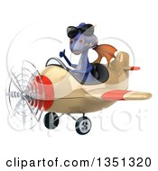 Clipart Of A 3d Purple Dragon Aviator Pilot Wearing Sunglasses Giving A Thumb Up And Flying An Airplane To The Left Royalty Free Illustration by Julos