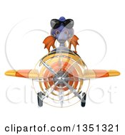 Clipart Of A 3d Purple Dragon Aviator Pilot Wearing Sunglasses And Flying A Yellow Airplane Royalty Free Illustration by Julos