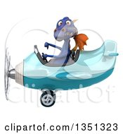 Clipart Of A 3d Purple Dragon Aviator Pilot Giving A Thumb Down And Flying A Blue Airplane To The Left Royalty Free Illustration by Julos