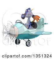 Clipart Of A 3d Purple Dragon Aviator Pilot Flying A Blue Airplane To The Left Royalty Free Illustration by Julos