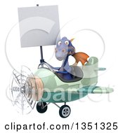 Clipart Of A 3d Purple Dragon Aviator Pilot Holding A Blank Sign And Flying A Green Airplane To The Left Royalty Free Illustration