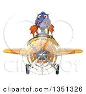 3d Purple Dragon Aviator Pilot Flying A Yellow Airplane