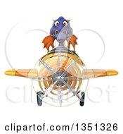 Clipart Of A 3d Purple Dragon Aviator Pilot Flying A Yellow Airplane Royalty Free Illustration by Julos