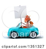 Clipart Of A 3d Red Dragon Holding A Blank Sign And Driving A Blue Convertible Car To The Left Royalty Free Illustration