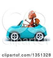 Clipart Of A 3d Red Dragon Giving A Thumb Up And Driving A Blue Convertible Car To The Left Royalty Free Illustration