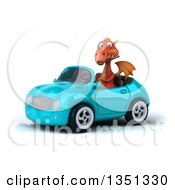 Clipart Of A 3d Red Dragon Driving A Blue Convertible Car To The Left Royalty Free Illustration
