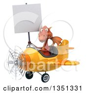 Clipart Of A 3d Red Dragon Aviator Pilot Holding A Blank Sign And Flying A Yellow Airplane To The Left Royalty Free Illustration