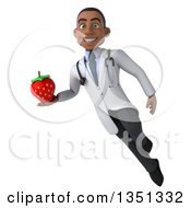 Clipart Of A 3d Young Black Male Nutritionist Doctor Holding A Strawberry And Flying Royalty Free Illustration by Julos