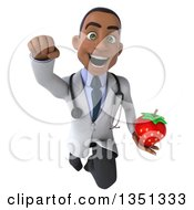 Clipart Of A 3d Young Black Male Nutritionist Doctor Holding A Strawberry And Flying Royalty Free Illustration