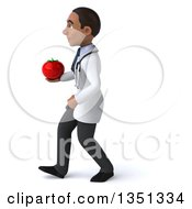 Clipart Of A 3d Young Black Male Nutritionist Doctor Holding A Tomato And Walking To The Left Royalty Free Illustration