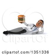 Clipart Of A 3d Young Black Male Nutritionist Doctor Holding A Double Cheeseburger And Resting On His Side Royalty Free Illustration