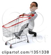 Clipart Of A 3d Young Black Male Doctor Speed Walking And Pushing A Shopping Cart Royalty Free Illustration
