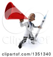 Clipart Of A 3d Young Black Male Doctor Holding A Vaccine Syringe And Using A Megaphone Royalty Free Illustration