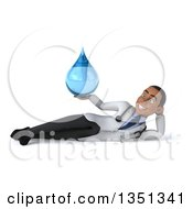 Clipart Of A 3d Young Black Male Doctor Holding A Water Drop And Resting On His Side Royalty Free Illustration