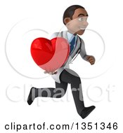 Clipart Of A 3d Young Black Male Doctor Holding A Love Heart And Sprinting To The Right Royalty Free Illustration