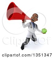 Clipart Of A 3d Young Black Male Nutritionist Doctor Holding A Green Apple And Using A Bullhorn Royalty Free Illustration