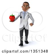 Clipart Of A 3d Young Black Male Nutritionist Doctor Holding A Strawberry And Walking Royalty Free Illustration