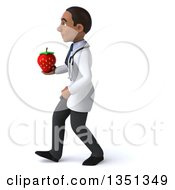 Clipart Of A 3d Young Black Male Nutritionist Doctor Holding A Strawberry And Walking To The Left Royalty Free Illustration