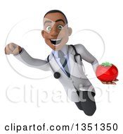 Clipart Of A 3d Young Black Male Nutritionist Doctor Holding A Tomato And Flying Royalty Free Illustration
