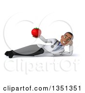 Clipart Of A 3d Young Black Male Nutritionist Doctor Holding A Tomato And Resting On His Side Royalty Free Illustration by Julos
