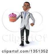 Clipart Of A 3d Young Black Male Nutritionist Doctor Holding A Cupcake And Walking Royalty Free Illustration