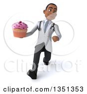 Clipart Of A 3d Young Black Male Nutritionist Doctor Holding A Cupcake And Speed Walking Royalty Free Illustration
