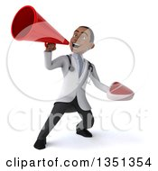 Clipart Of A 3d Young Black Male Nutritionist Doctor Holding A Beef Steak And Using A Megaphone Royalty Free Illustration