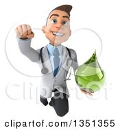 Clipart Of A 3d Young Brunette White Male Doctor Holding A Green Medicine Droplet And Flying Royalty Free Illustration