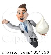 Clipart Of A 3d Young Brunette White Male Doctor Holding A Milk Soap Or Shampoo Drop And Flying Royalty Free Illustration