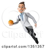 Clipart Of A 3d Young Brunette White Male Nutritionist Doctor Holding A Navel Orange And Flying Royalty Free Illustration