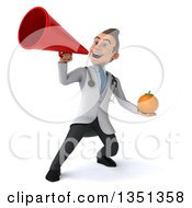 Clipart Of A 3d Young Brunette White Male Nutritionist Doctor Holding A Navel Orange And Using A Megaphone Royalty Free Illustration