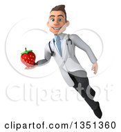 Clipart Of A 3d Young Brunette White Male Nutritionist Doctor Holding A Strawberry And Flying Royalty Free Illustration